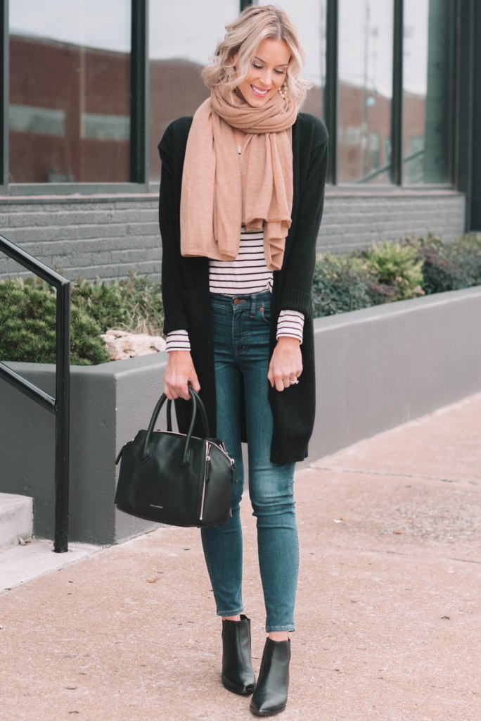 black cardigan, black ans white striped shirt, black booties, camel colored scarf