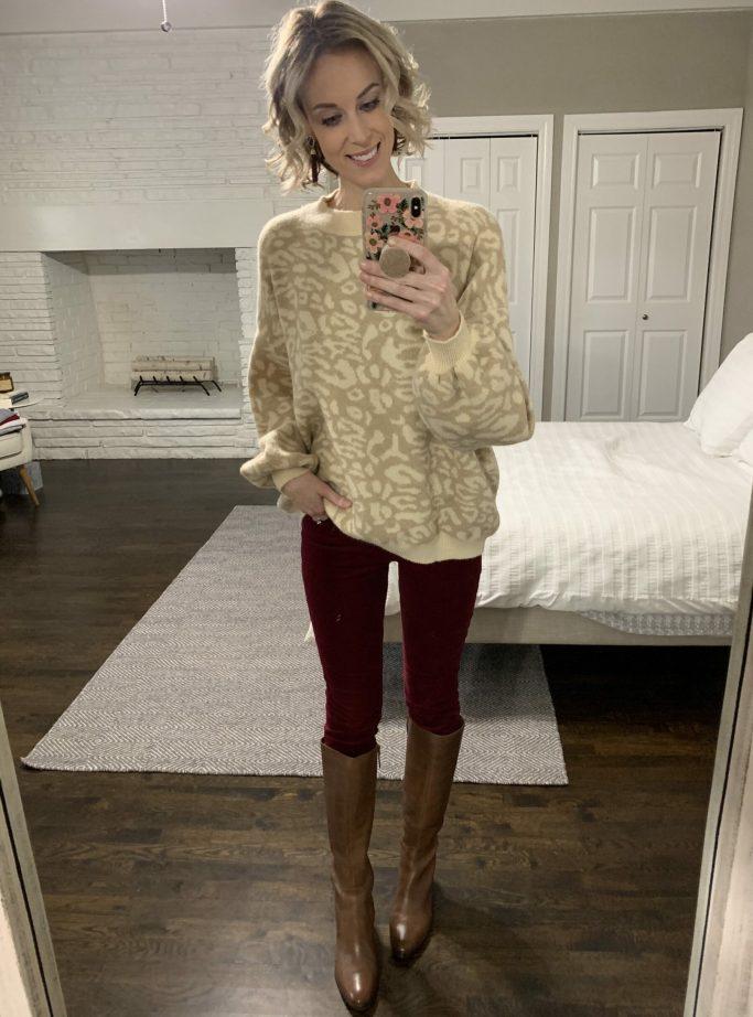 neutral leopard sweater with burgundy velvet pants