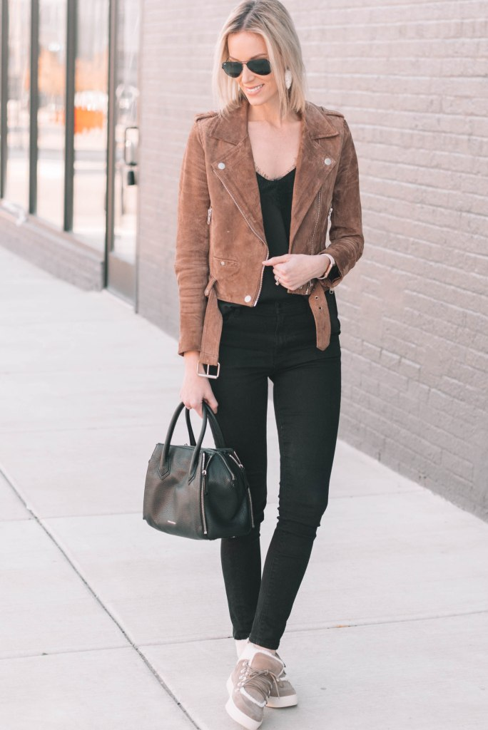 suede jacket with all black outfit and shearling lined sneakers