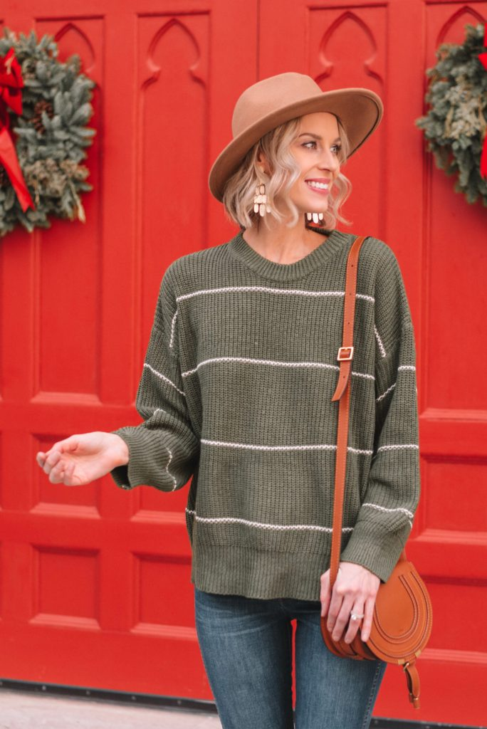 adorable green striped oversize sweater