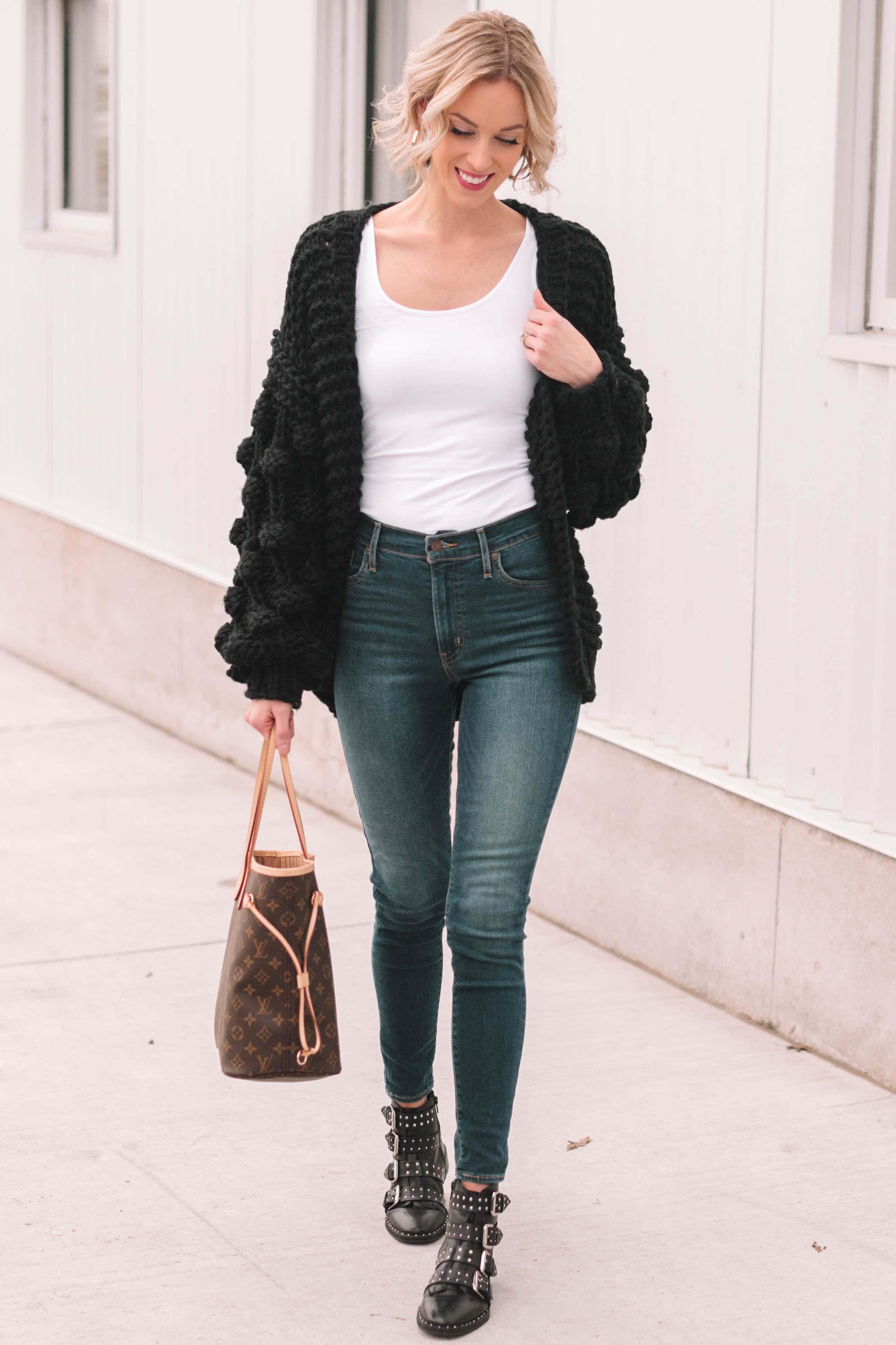 Chunky Black Cardigan - Straight A Style