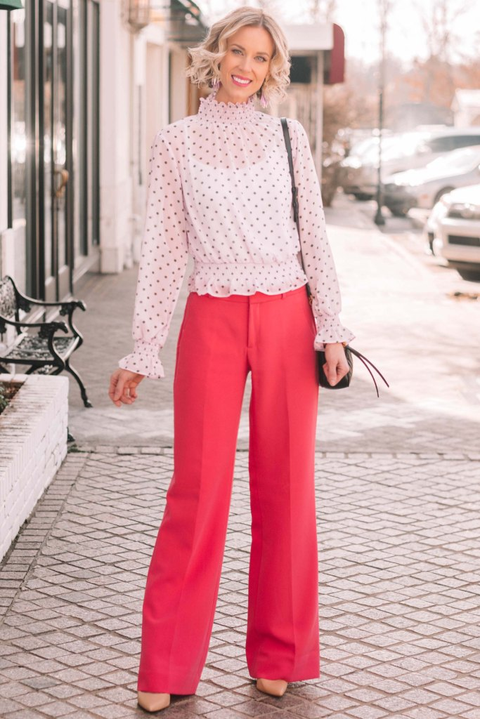 winter work outfit idea, how to add personality to your work wardrobe with colored pants