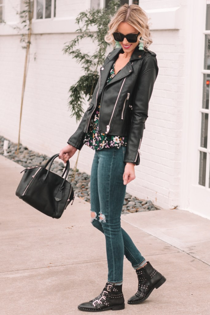 light layers for spring, what to wear for spring, black leather moto jacket