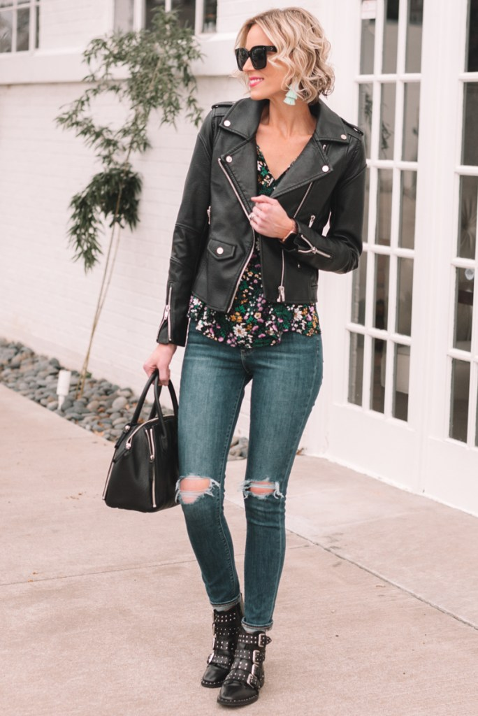 floral blouse and moto jacket for spring