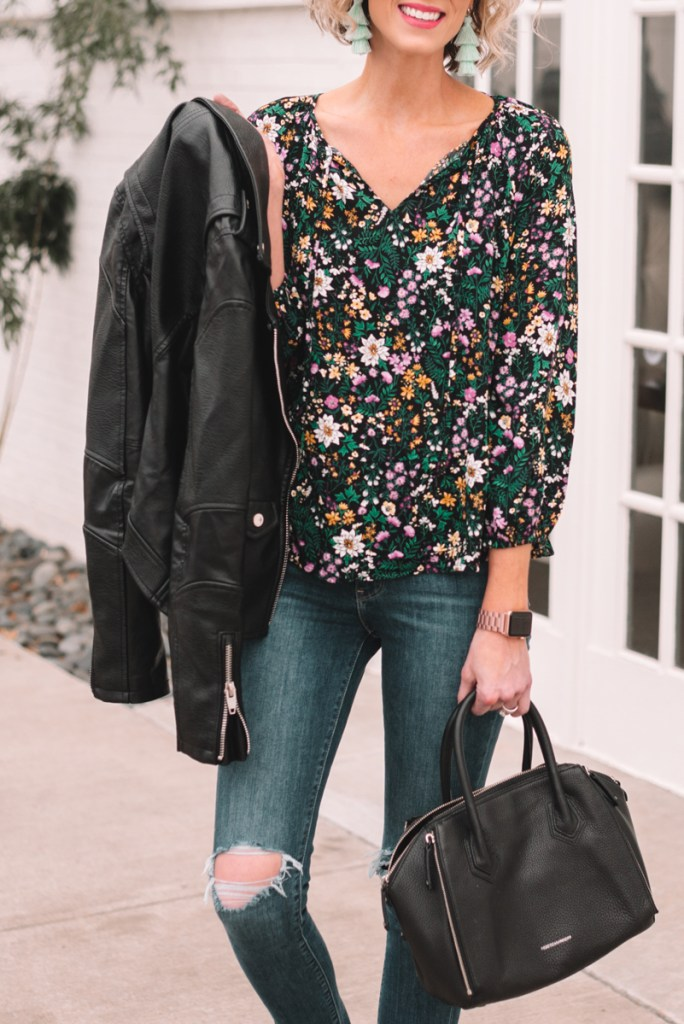 light layers for spring, spring outfit, floral top for spring