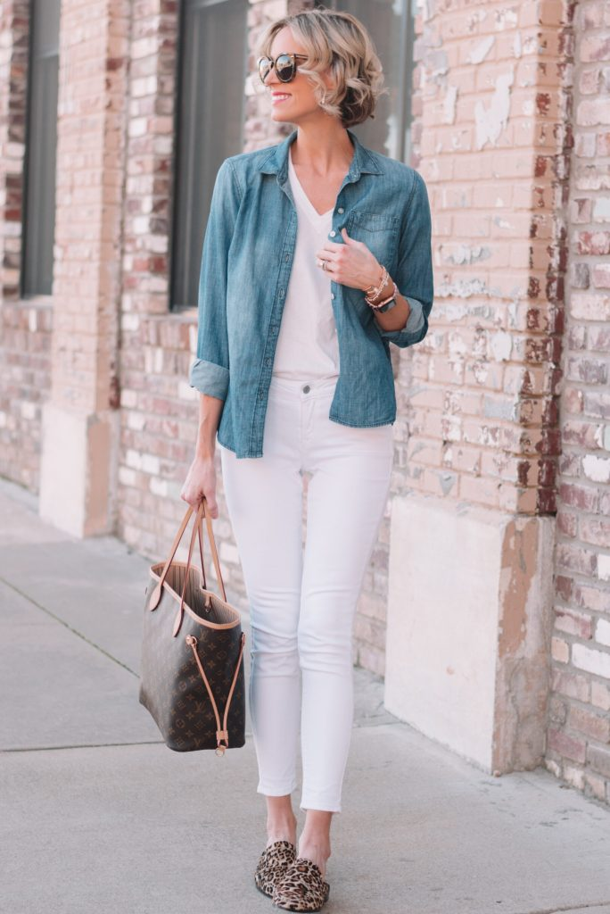 all white outfit with layered chambray shirt