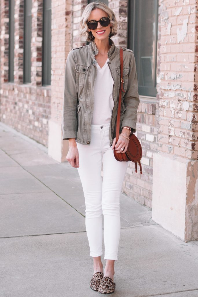 all white outfit with utility jacket