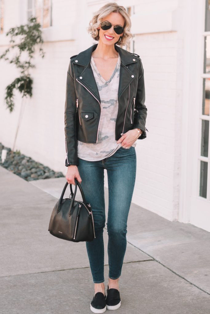 mini casual capsule wardrobe, skinny jeans, black leather jacket, camo shirt