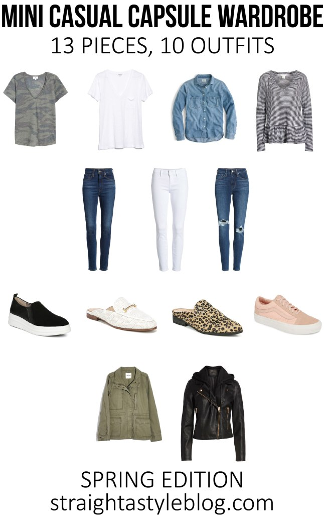 mini casual capsule wardrobe - 13 pieces, 10 outfits, post with everything you need to easily mix and match your closet using basics you already have