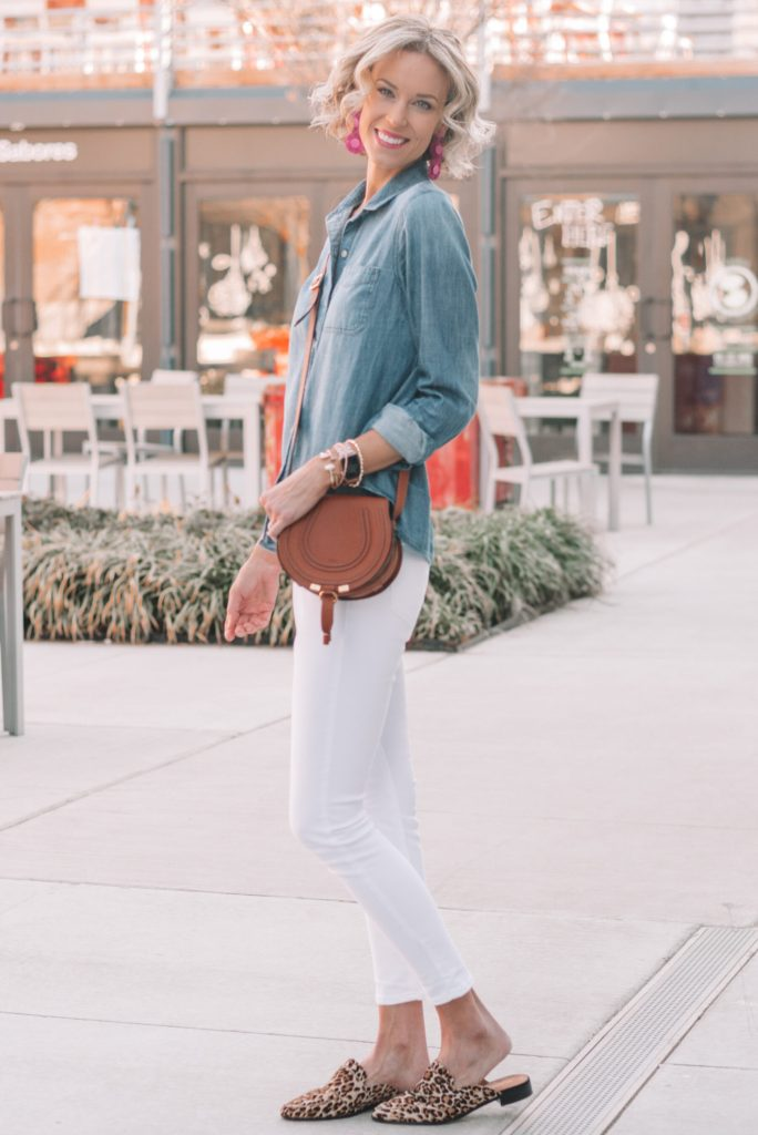 chambray shirt with white jeans and leopard shoes