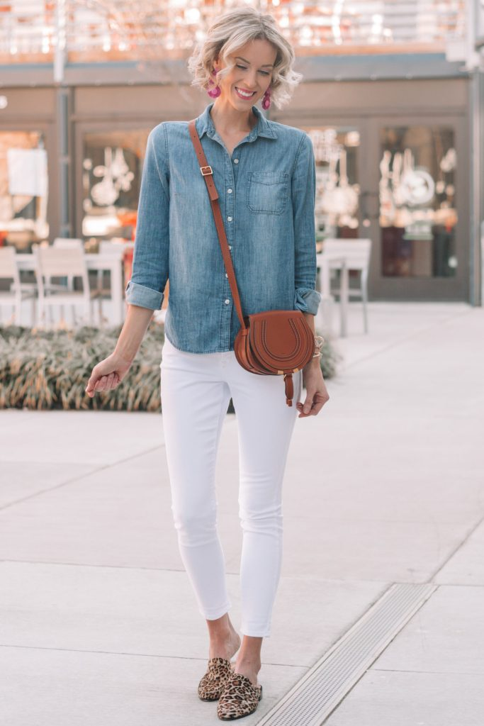 double denim with white jeans and leopard shoes, wardrobe basics and how to style them