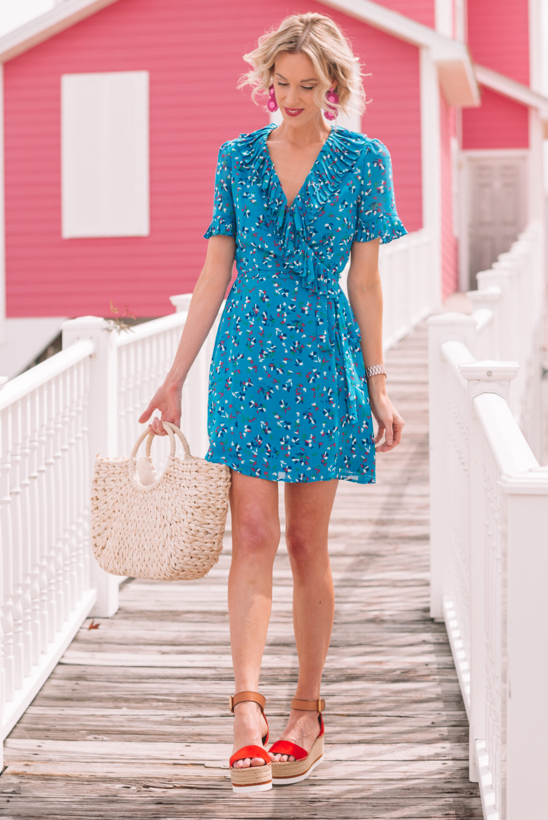 349e05339f855 colorful and fun blue wrap style mini dress with red flatform sandals for  summer ...
