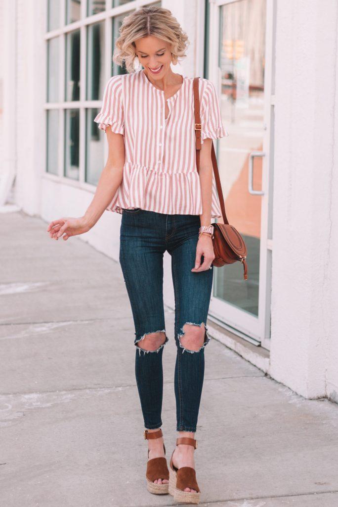 my spring favorites, striped peplum top, distressed jeans, espadrille wedges