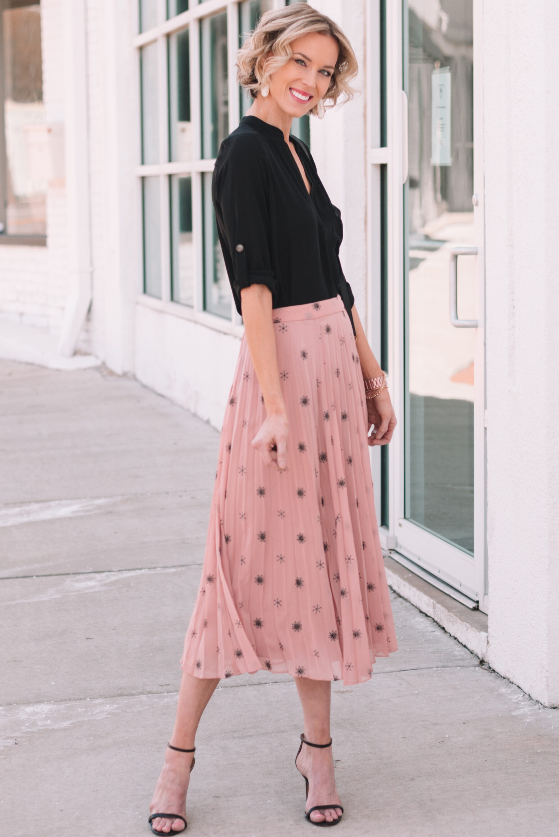 ec34478e04 ... beautiful midi skirt with heels and blouse for spring how to style ...
