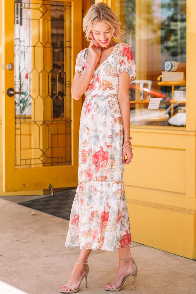 gorgeous long floral dress for spring