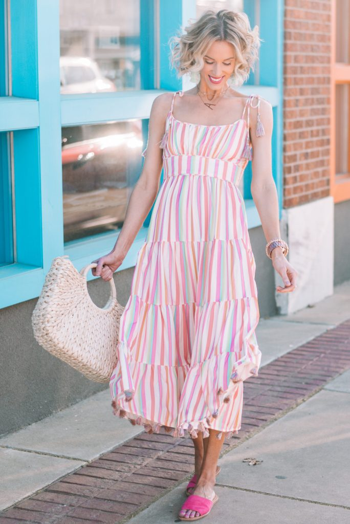 tie shoulder midi dress with bright colored stripes and tassels, the perfect summer dress, sundress