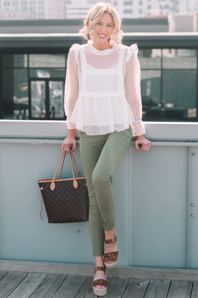leopard espadrilles with olive skinny jeans and white blouse