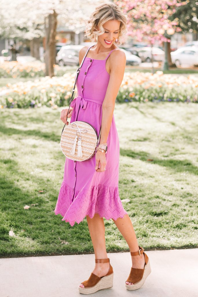 adorable button front midi dress, espadrille wedges, circle purse