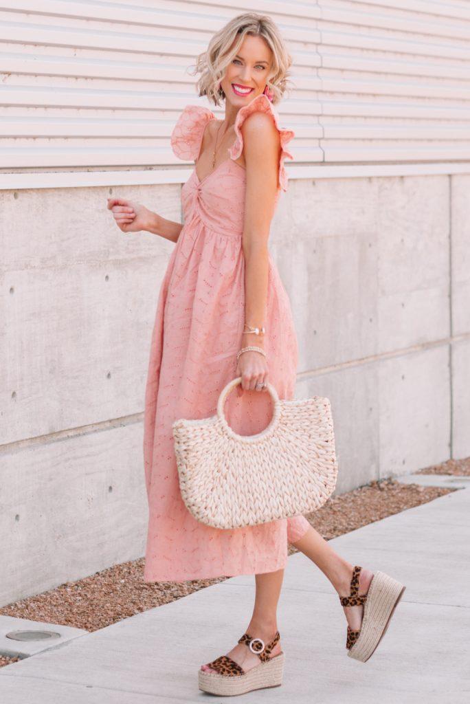 fun and flirty pink eyelet dress, blush pink sundress, leopard flatform wedges