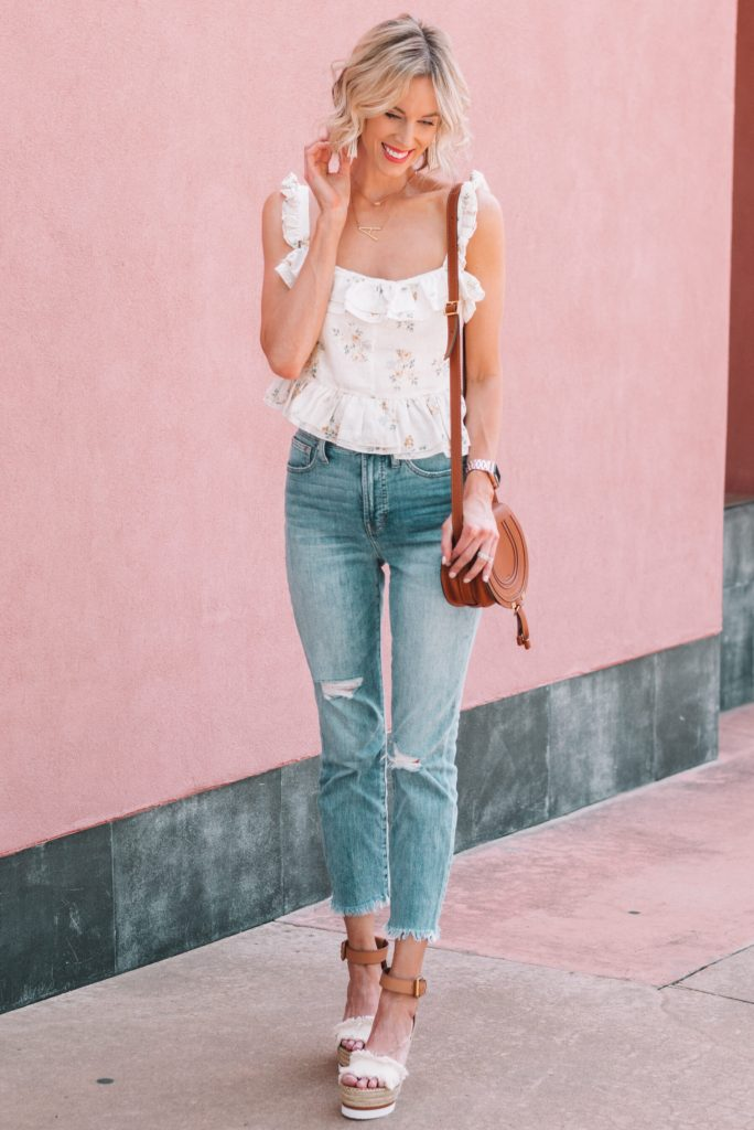 flirty ruffled tank top with cropped jeans and wedges