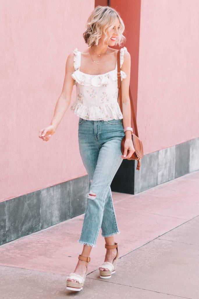 fun ruffle hem floral tank top and jeans