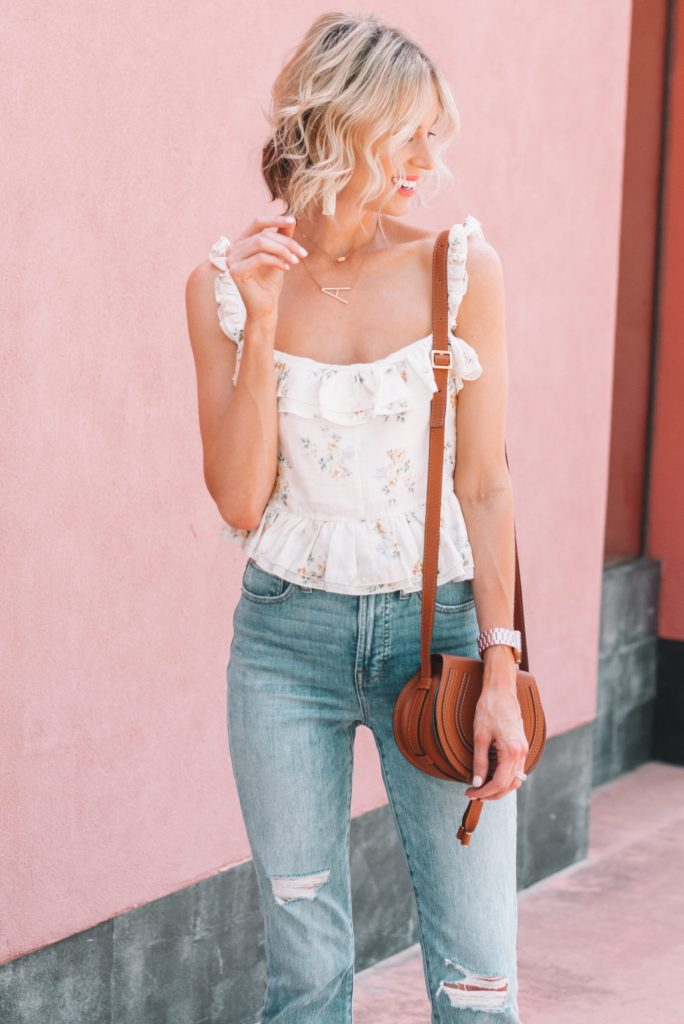 delicate floral cami for date night