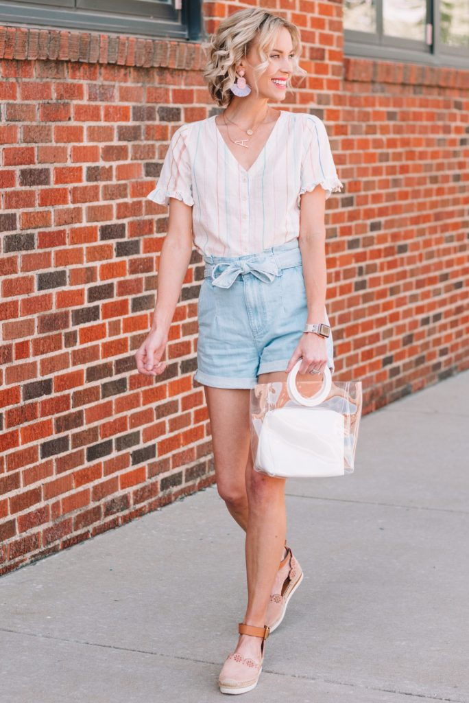 denim paperbag shorts with a button front top and flats, cute summer shorts outfit