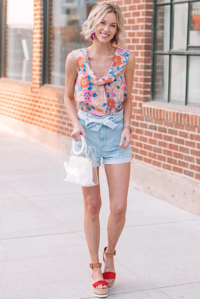 adorable denim paperbag waist shorts with colorful tank for summer
