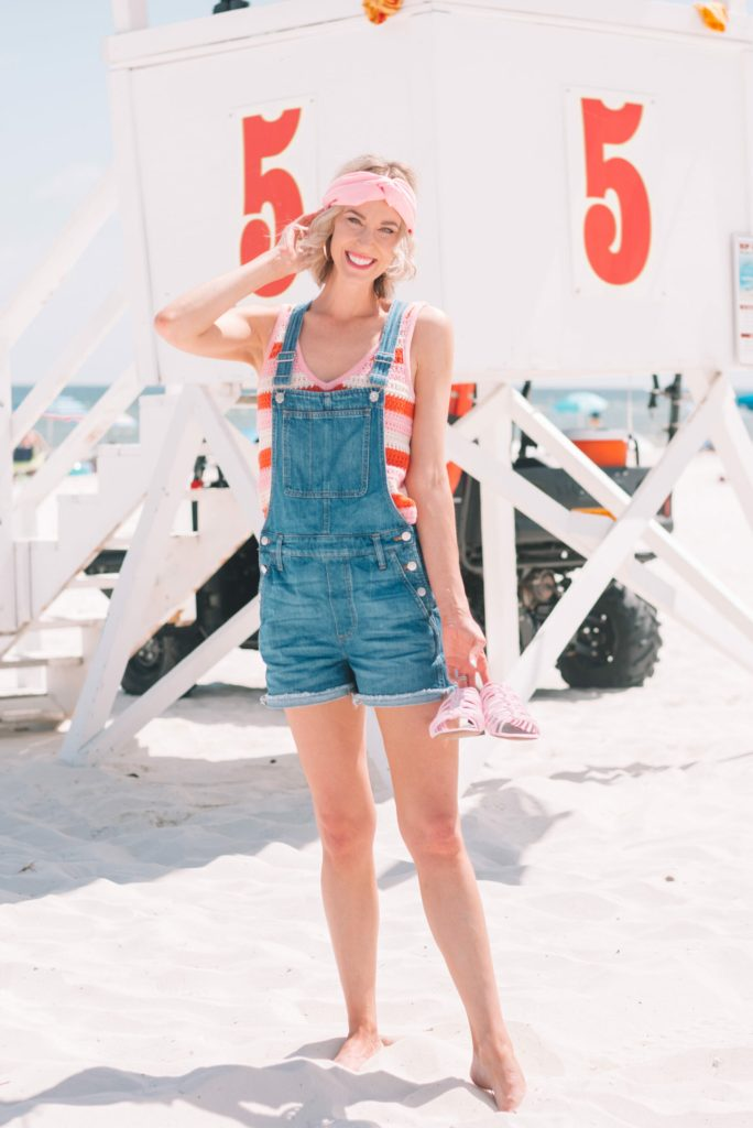 beach photo, overalls paired with fun striped tank