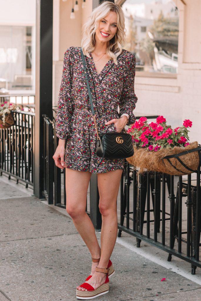 cute romper for a tall girl, fun floral romper, dressy romper