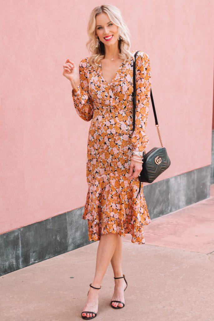 long sleeve fall floral midi dress