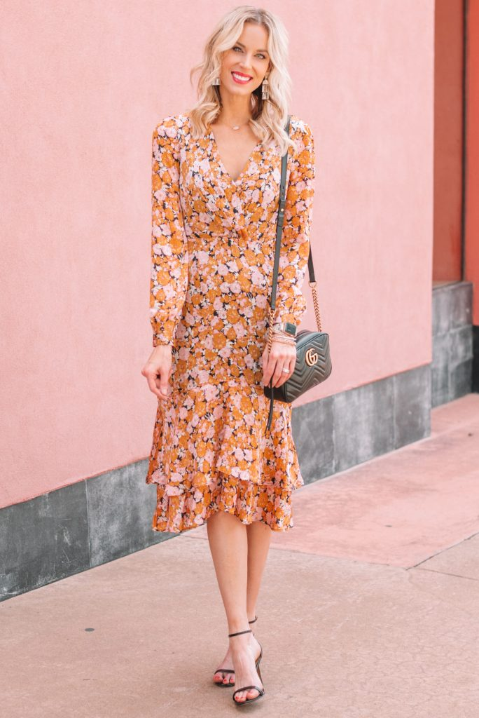 gorgeous floral midi dress in fall colors