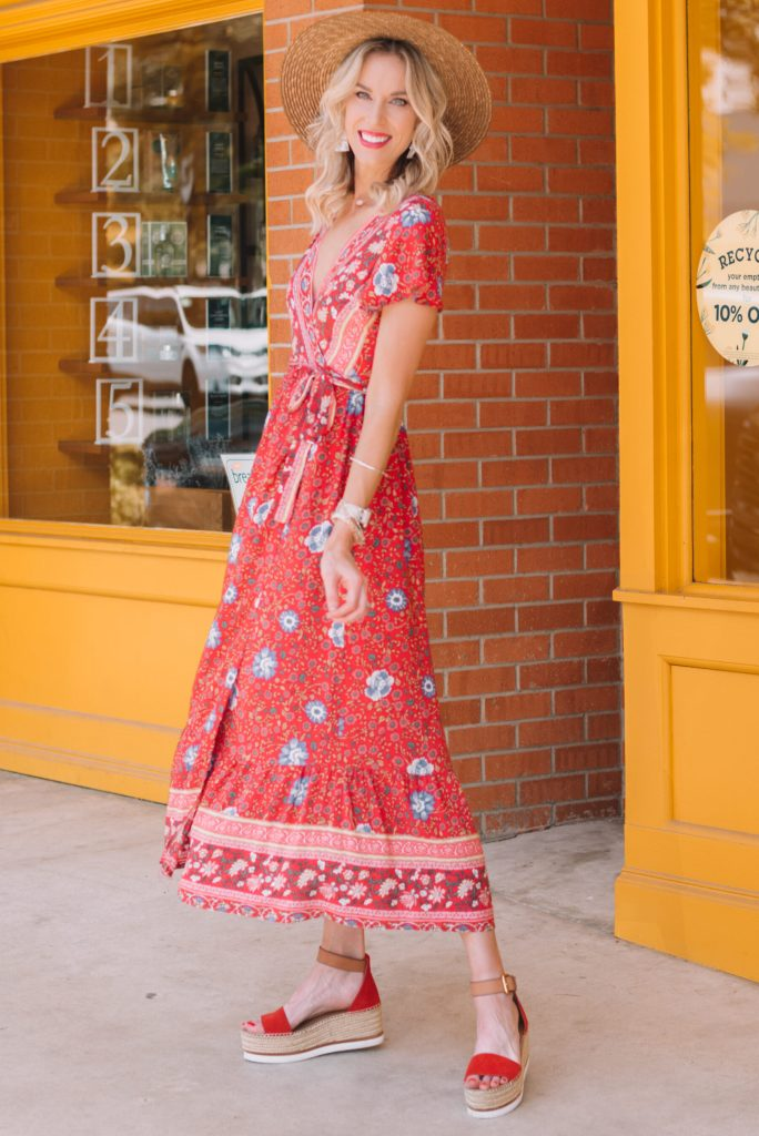 gorgeous red long dress with red flatform sandals