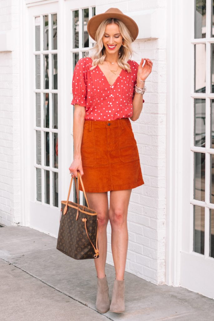 the skirt you need for fall, corduroy skirt, rust colored skirt, skirt with ankle boots