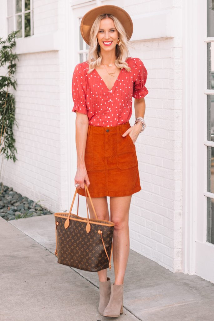 corduroy skirt and top with ankle boots for fall, how to wear a skirt with boots for fall
