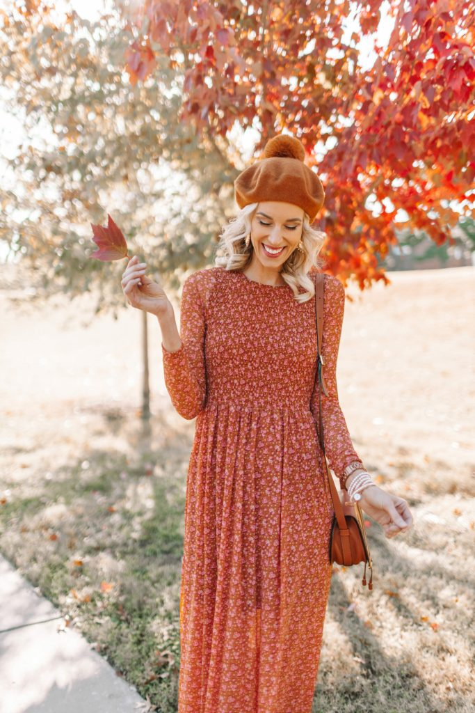 fall foliage shoot, fall dress, orange and red colored fall dress