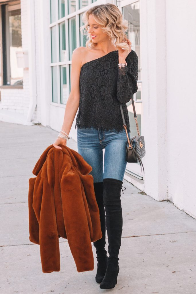 outfit ideas for over the knee boots with jeans, black over the knee boots