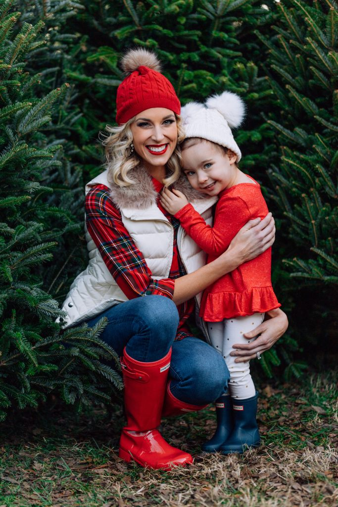what to wear for family Christmas tree farm photos, Christmas flannel, Christmas plaid, red hunter boots, red hunter boot outfit, matching hunter boots, red plaid, family Christmas pictures