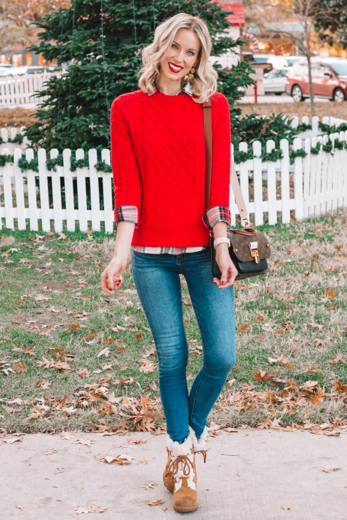 how to layer a flannel under a sweater, how to wear a red sweater, Joan of Artic Sorel boots, casual holiday outfit idea