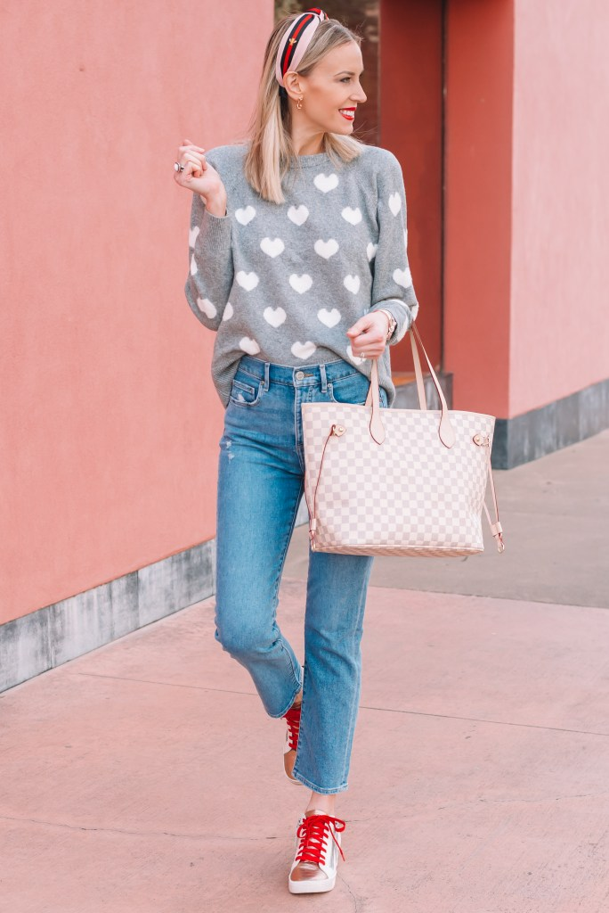 sweater and cropped jeans with sneakers