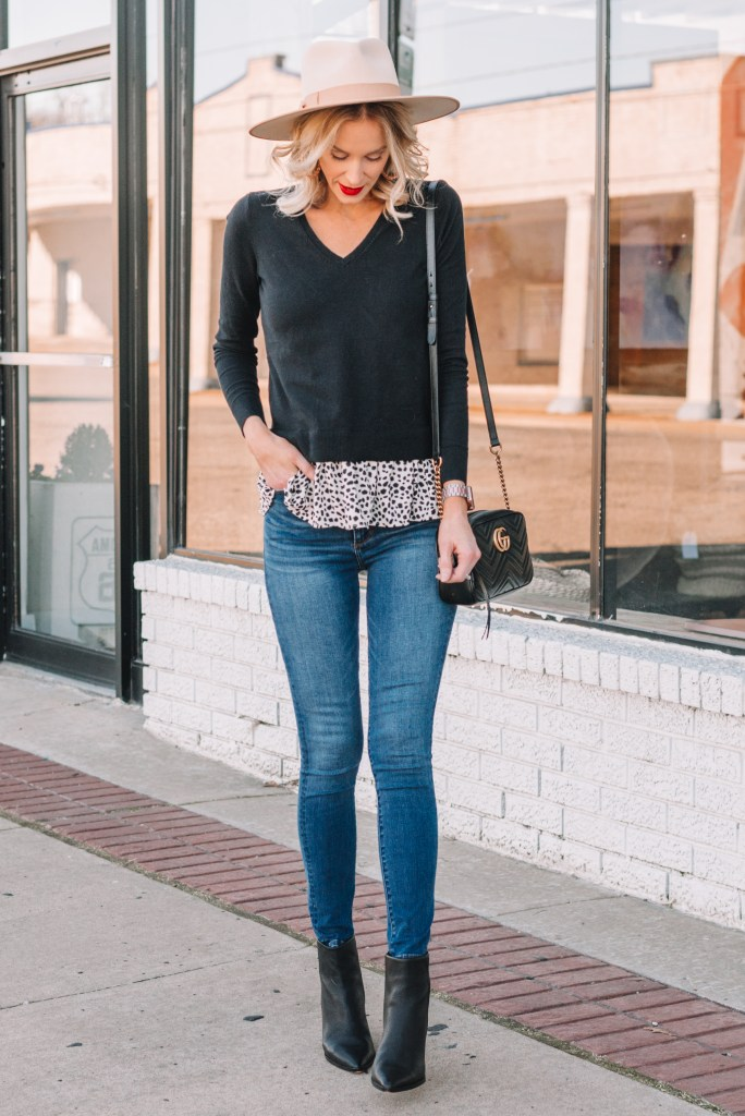 faux layered peplum top, jeans, black ankle booties