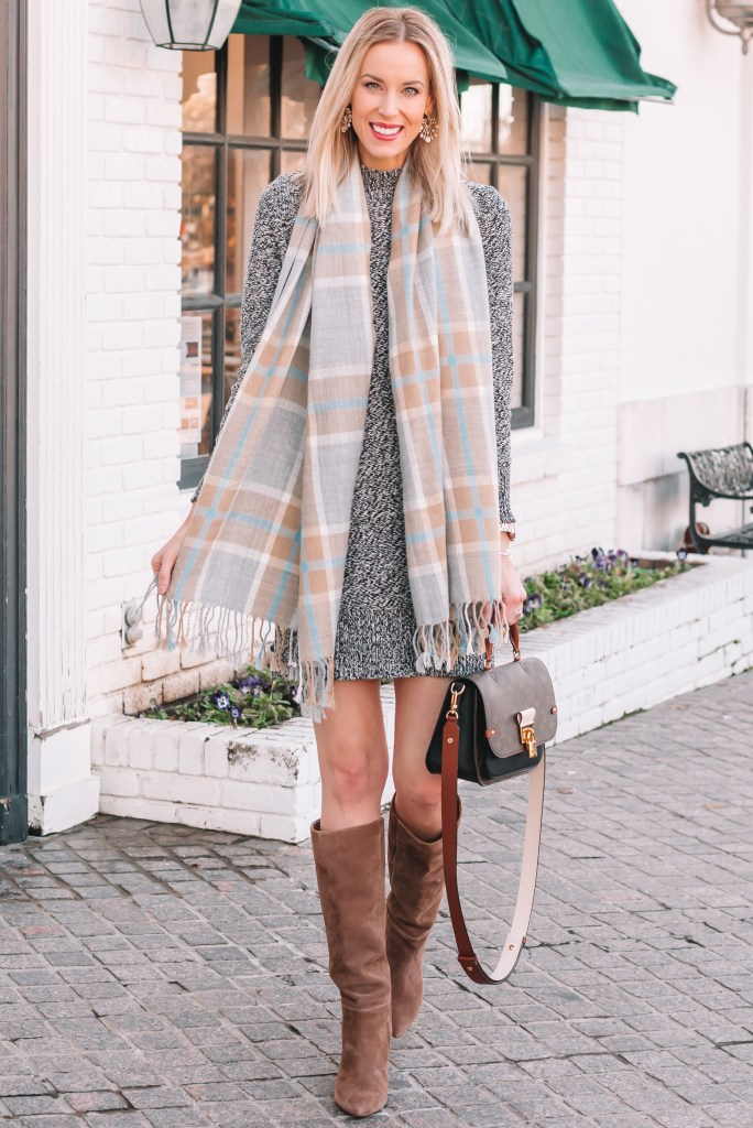 how to wear a sweater dress, sweater dress with boots and scarf