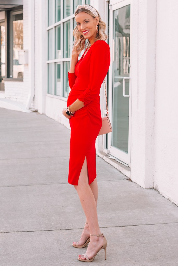 ruched red dress with v-neck