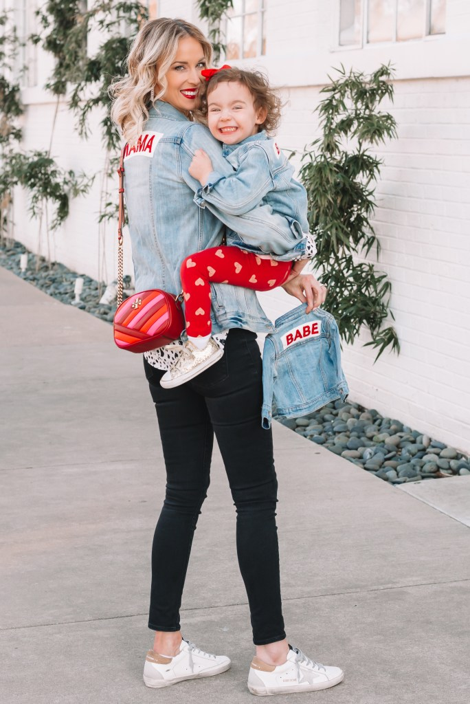 matching mama and babe jean jackets, embroidered jean jackets