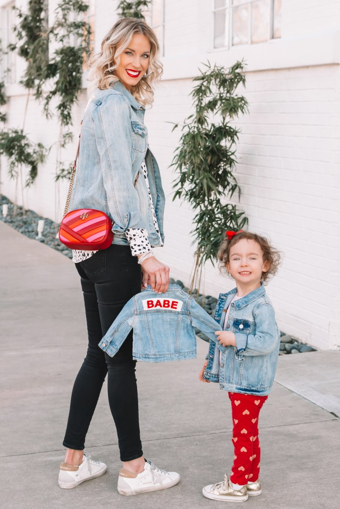 family matching jean jackets, jean jacket outfit idea