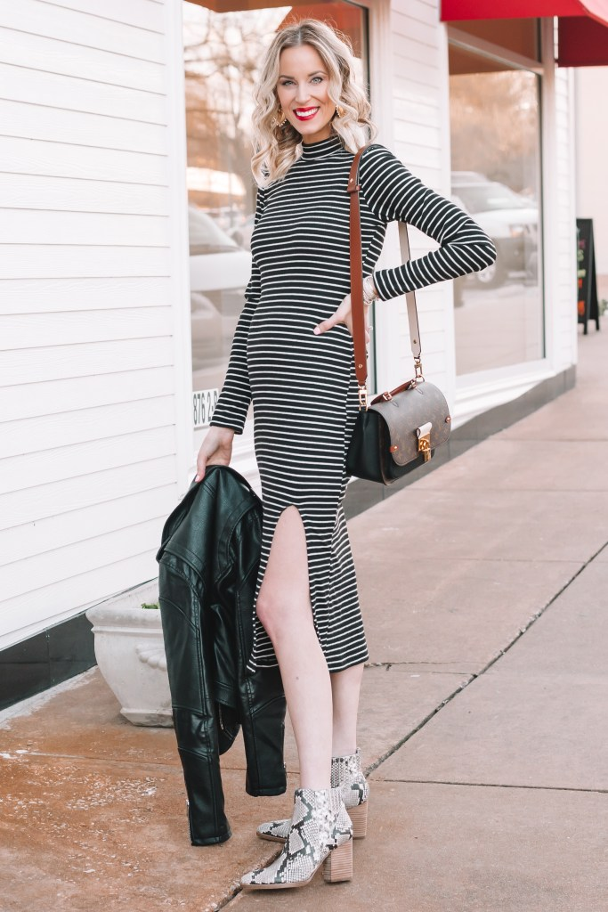 Fitted Black and White Striped Dress for maternity wear with snakeskin boots
