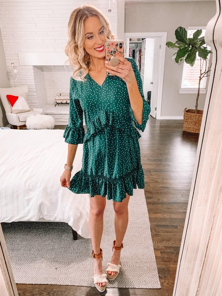 affordable amazon dress, polka dot dress, green dress