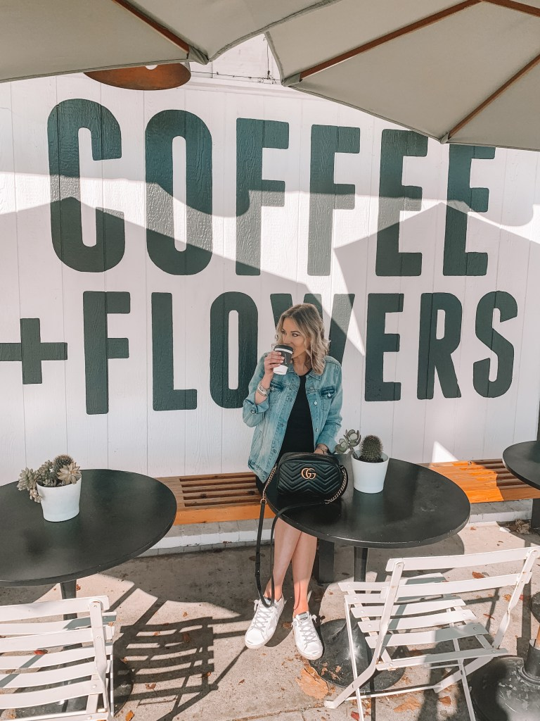 communal coffee san diego coffee + flowers wall
