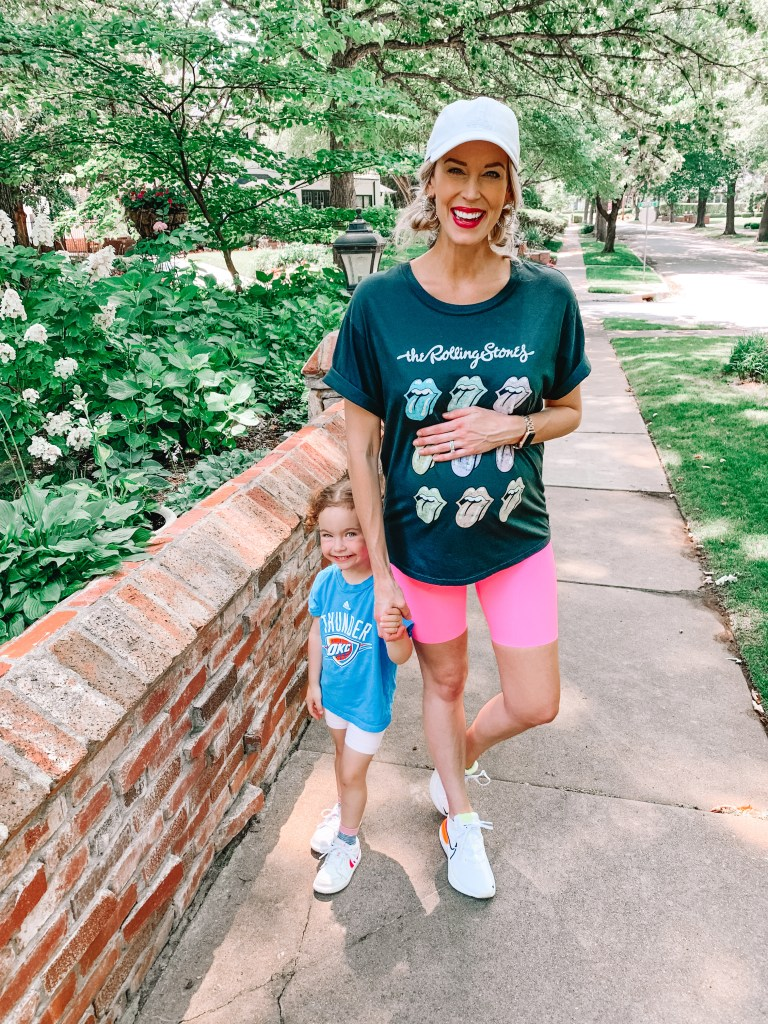 Bike shorts are the perfect summer mom uniform with a graphic tee!