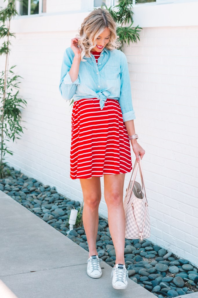 Look no further for an easy 4th of July outfit idea! All you need is this super affordable red and white dress with your favorite chambray shirt.